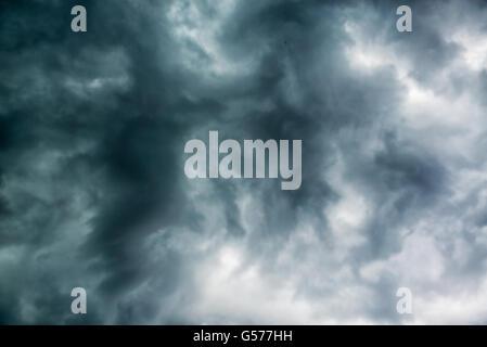 Black gloomy clouds sky - Stock Photo