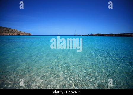 Cala Conta beach (Platges de Comte and Cala Compte) in Ibiza, Balearic Islands, Spain - Stock Photo