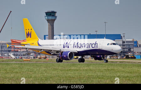 Monarch Airlines Airbus a320 G-ZBAP arriving at London Luton airport LTN - Stock Photo
