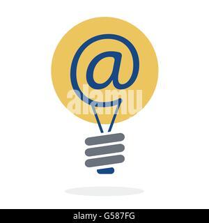 Symbol at in lightbulb as new idea sharing via e-mail concept vector design - Stock Photo