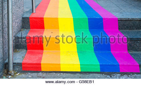 Toronto, Ontario, Canada, Rainbow flag painted in a Scotiabank in downtown. Toronto celebrates along with the LGBT - Stock Photo