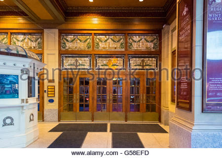 Elgin and Winter Garden details. They are the last surviving Edwardian stacked theatres in the world.   The Elgin - Stock Photo