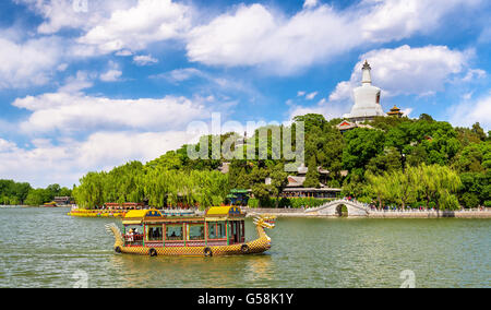 View of Jade Island with White Pagoda in Beihai Park - Beijing - Stock Photo