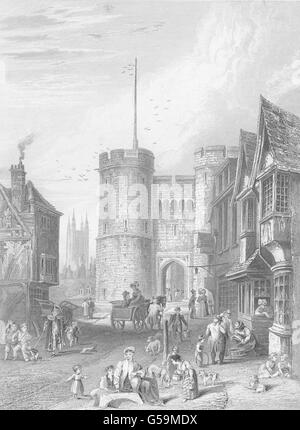 KENT: The West Gate, at Canterbury. (Bartlett), antique print 1836 - Stock Photo