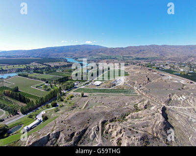 Historic gold sluicings, Bannockburn, near Cromwell, Central Otago, South Island, New Zealand - drone aerial - Stock Photo