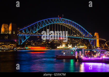 View of Sydney Harbour Bridge during Vivid Sydney 2016 - Stock Photo