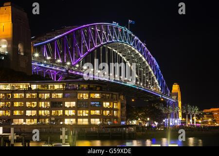 View of Sydney Harbour Bridge and The Park Hyatt during Vivid Sydney 2016 - Stock Photo