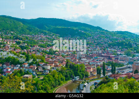 View towards Miljacka river and Bistrik and Hrid districts, from Zuta Tabija, Yellow Fortress, Sarajevo, Bosnia - Stock Photo