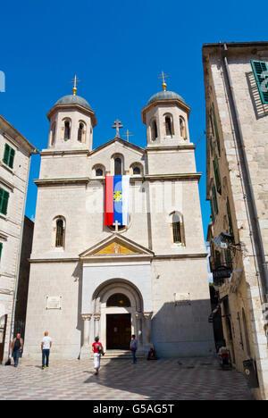 St Nicholas Orthodox church, Trg svetog Luka, St Luke's square, Stari grad, old town, Kotor, Montenegro - Stock Photo