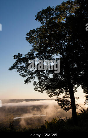 Fog Rising Over Mississippi River at Wyalusing Park - Stock Photo