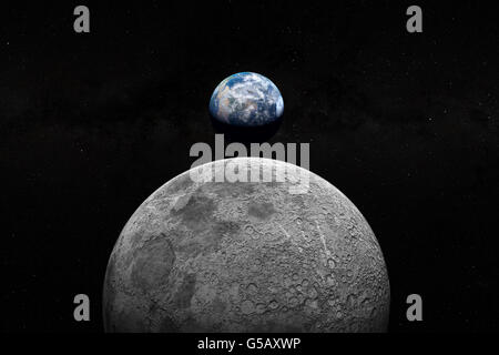 Earth and Moon seen from space - Stock Photo
