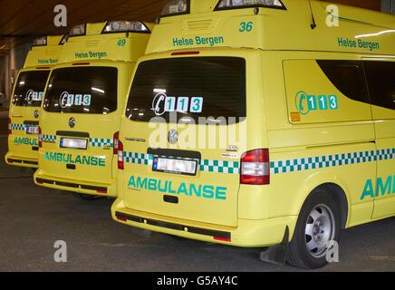 Ambulances parked at hospital - Stock Photo