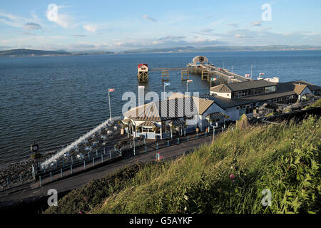 View of Mumbles Pier and Lifeboat Station on Gower Peninsula Swansea Bay in South Wales UK  KATHY DEWITT - Stock Photo