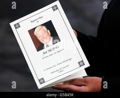 Joe McBride funeral - Stock Photo