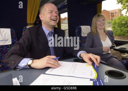 William and Ffion Hague in bus - Stock Photo