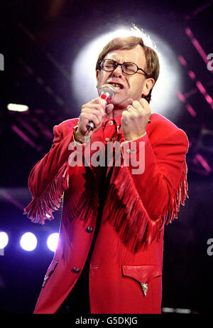 Freddie Mercury Tribute Concert - Elton John - Wembley - Stock Photo
