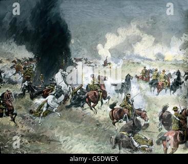Englischer Kavalleriestoß scheitert bei Mesen in Belgien. Topic commemoration: British cavalry fails at Mesen, Belgium. - Stock Photo