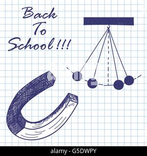 Magnet and hanged balls. Doodle sketch on checkered paper background. Vector illustration. - Stock Photo