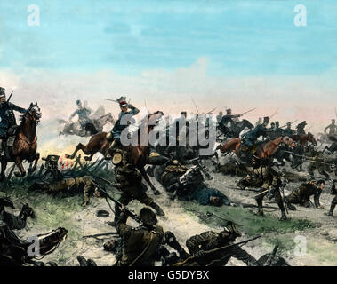 Reiterschlacht. Cavalry in action. Germany, war, World War, WWI, 1, history, historical, 1910s, 20th century, archive, - Stock Photo