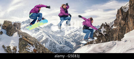 Snowboarding jump sequence. Les 2 Alpes, France - Stock Photo