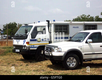 Police truck outside the 2011 Air Force Base Waterkloof Airshow and Lifestyle Expo. - Stock Photo