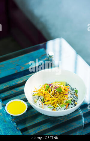 asian spicy curry vegetable cold rice noodle salad - Stock Photo
