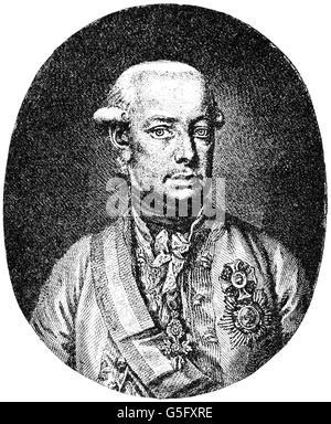 Leopold II, 5.5.1747 - 1.3.1792, Holy Roman Emperor 30.9.1790 - 1.3.1792, copper engraving by Jakob Adam, 1790, - Stock Photo