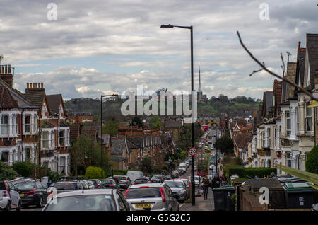 View of Alexandra Palace from Ferme Park Road, Crouch Hill on a bright cloudy day in 2016 - Stock Photo