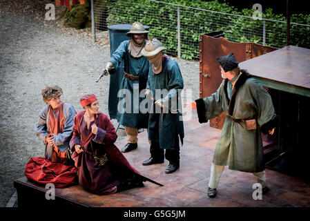 Miracle Theatre Performing Life's A Dream Actors Acting Trebah Gardens Amphitheatre Cornwall. - Stock Photo