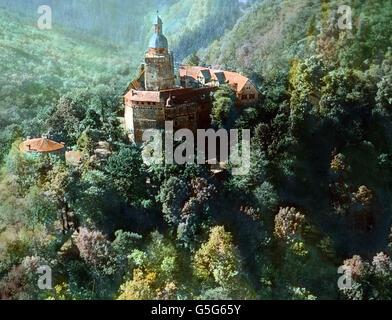 Burg Falkenstein. Castle Falkenstein in the Harz region. Europe, Germany, landscape, mountain range, history, historical, - Stock Photo