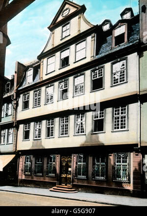 Geothehaus am Hirschgraben. The house where Goethe was born in 1749 in the city of Frankfurt. house, city, street, inner city, old city, birth place, Europe, Germany, history, historical, 1910s, 1920s, 20th century, archive, Carl Simon, architecture