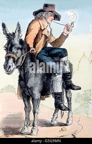Schiller in Karlsbad, auf einem Esel reitend. Schiller riding a donkey while he visits the city of Karlsbad. man, - Stock Photo