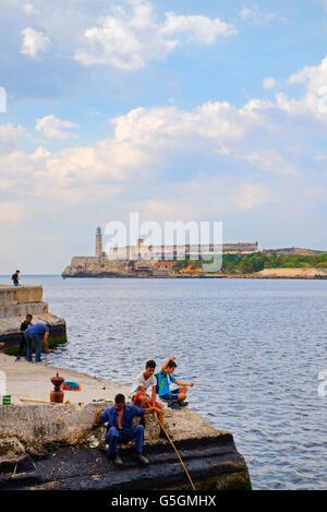 Lighthouse at Morro Castle seen from Malecon, Havana, Cuba - Stock Photo