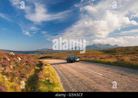 Road near the Kyle of Tongue - this road is part of the North Coast 500 Route. - Stock Photo