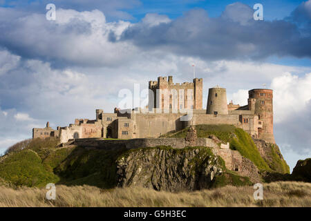 UK, England Northumberland, Bamburgh Castle, from the Wynding Beach, late afternoon Stock Photo