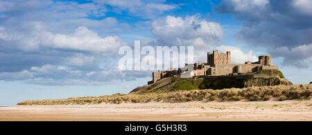 UK, England Northumberland, Bamburgh Castle from Wynding beach, panoramic Stock Photo