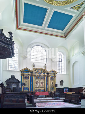 St Clement Eastcheap, church in the City of London. The nave - Stock Photo