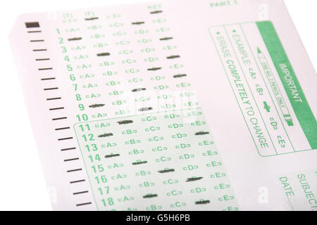 An answer sheet or optical mark recognition sheet with answers filled in. - Stock Photo