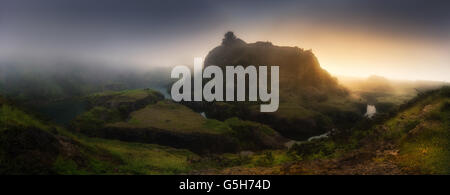 Panorama of lakes in La Arboleda at sunset - Stock Photo