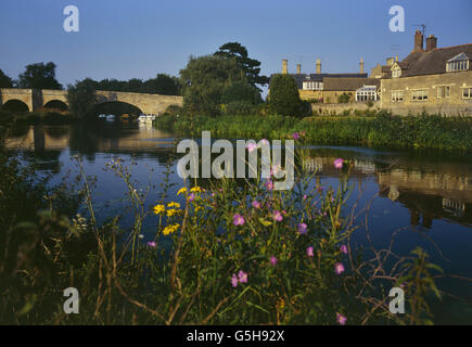 Wansford village viewed from the river Nene. Cambridgeshire. England. UK - Stock Photo