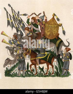military, Middle Ages, trumpeters and timpanists of a Saracen army on the march, chromolithograph, second half of - Stock Photo