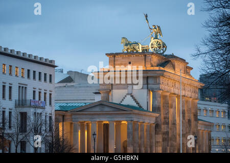 Brandenburg Gate or Tor, 18th century neoclassical monument in Berlin, Germany - Stock Photo