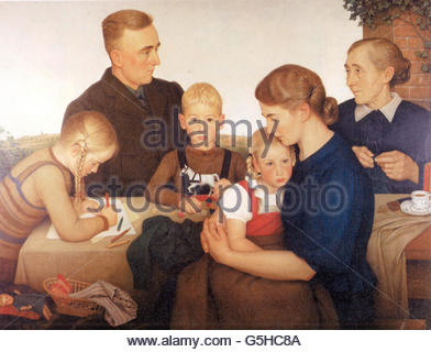 Nazism / National Socialism, fine arts, painting, Adolf Wissel: 'Kahlenberger Bauernfamilie' ('Farm Family From - Stock Photo