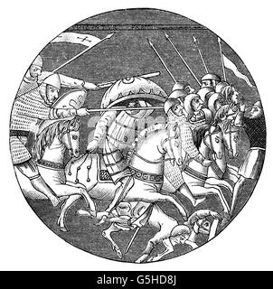 Middle Ages, crusades, battle between crusaders and Muslim cavalry, wood engraving, 19th century, after a glass - Stock Photo