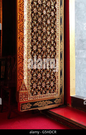 The doorstep of the main hall of the Wat Ratchaphradit in Bangkok (Thailand). - Stock Photo