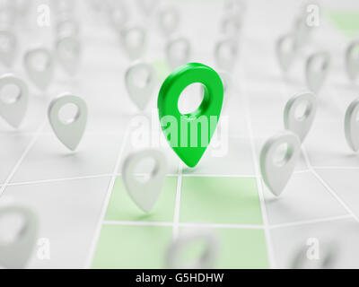Pinned place on map in abstract app close-up 3d illustration - Stock Photo