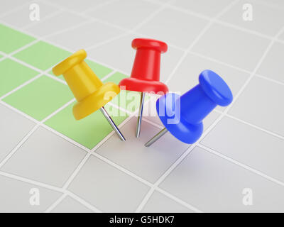 Three pins in the same point on map 3d illustration concept - Stock Photo