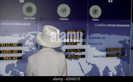 Queen Elizabeth II - world Stock Markets -London - Stock Photo