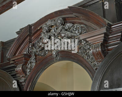 St Martin within Ludgate, church in the City of London, doorcase - Stock Photo
