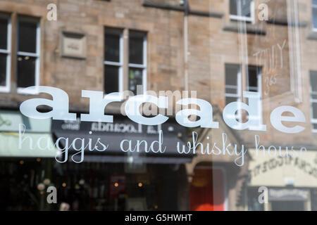 Arcade Haggis and Whisky House, Edinburgh, Scotland, UK - Stock Photo